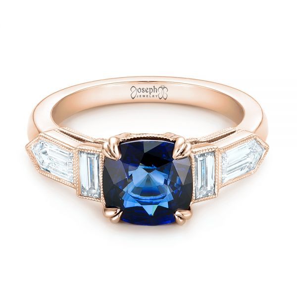 18k Rose Gold 18k Rose Gold Custom Blue Sapphire And Diamond Engagement Ring - Flat View -