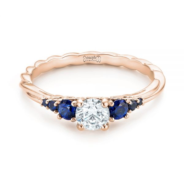 14k Rose Gold 14k Rose Gold Custom Blue Sapphire And Diamond Engagement Ring - Flat View -  103015