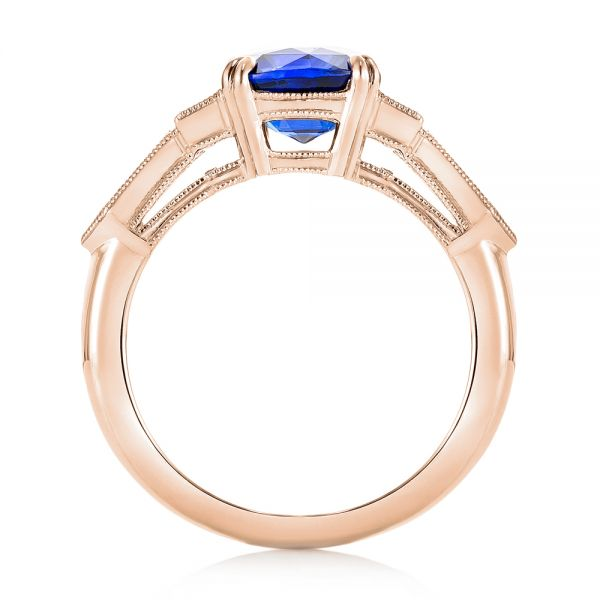18k Rose Gold 18k Rose Gold Custom Blue Sapphire And Diamond Engagement Ring - Front View -