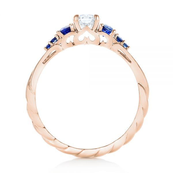 14k Rose Gold 14k Rose Gold Custom Blue Sapphire And Diamond Engagement Ring - Front View -  103015