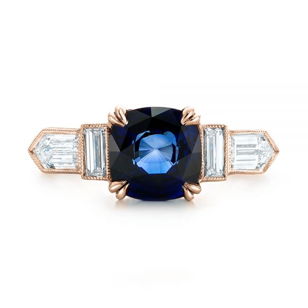 18k Rose Gold 18k Rose Gold Custom Blue Sapphire And Diamond Engagement Ring - Top View -
