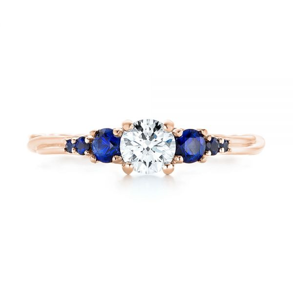 14k Rose Gold 14k Rose Gold Custom Blue Sapphire And Diamond Engagement Ring - Top View -  103015