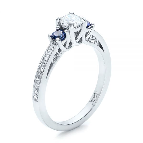 Custom Blue Sapphire and Diamond Engagement Ring