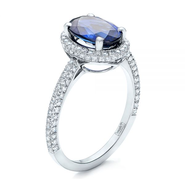 18k White Gold Custom Blue Sapphire And Diamond Engagement Ring - Three-Quarter View -