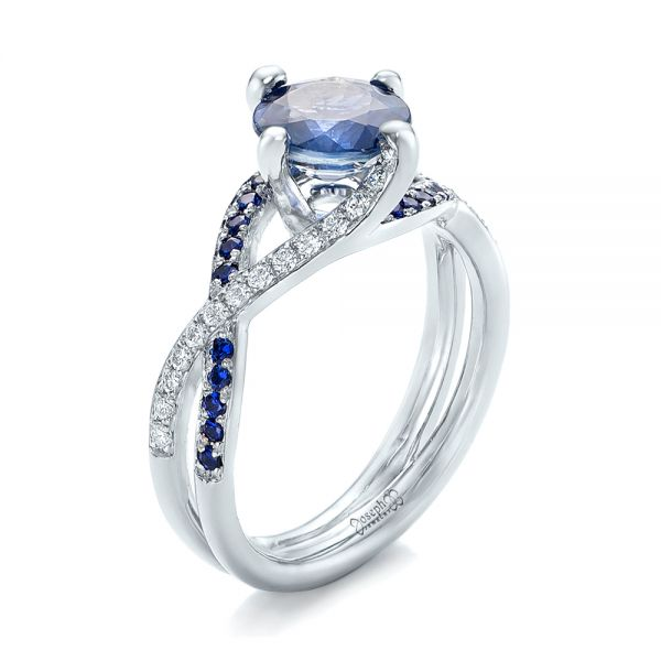 14k White Gold Custom Blue Sapphire And Diamond Engagement Ring - Three-Quarter View -