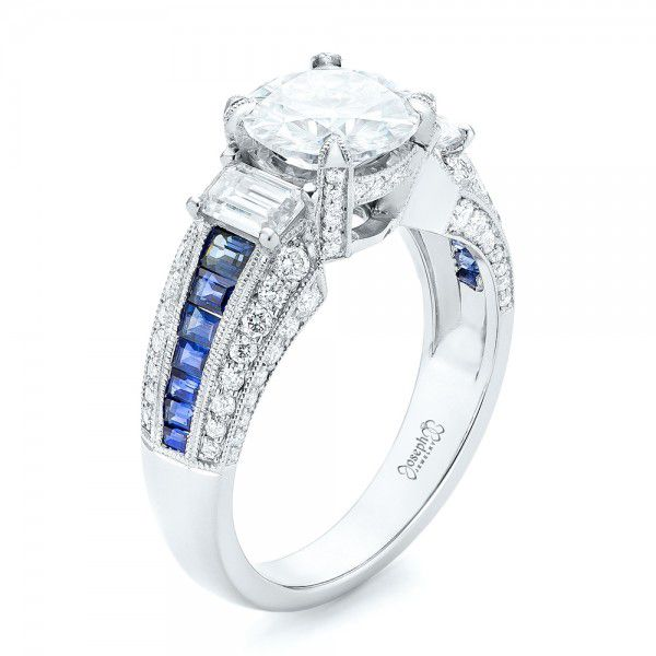 Platinum Platinum Custom Blue Sapphire And Diamond Engagement Ring - Three-Quarter View -