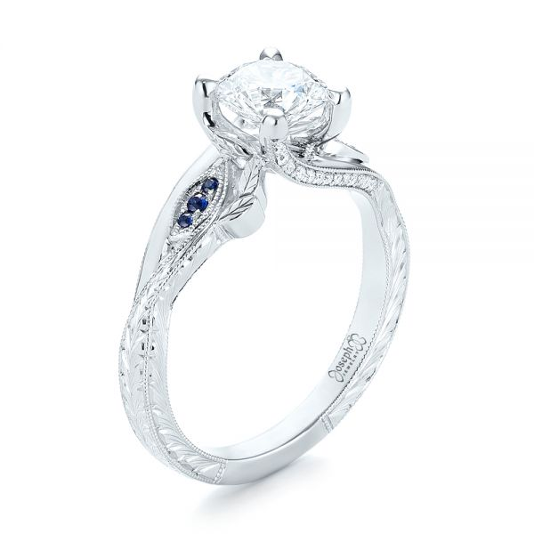 Platinum Custom Blue Sapphire And Diamond Engagement Ring - Three-Quarter View -