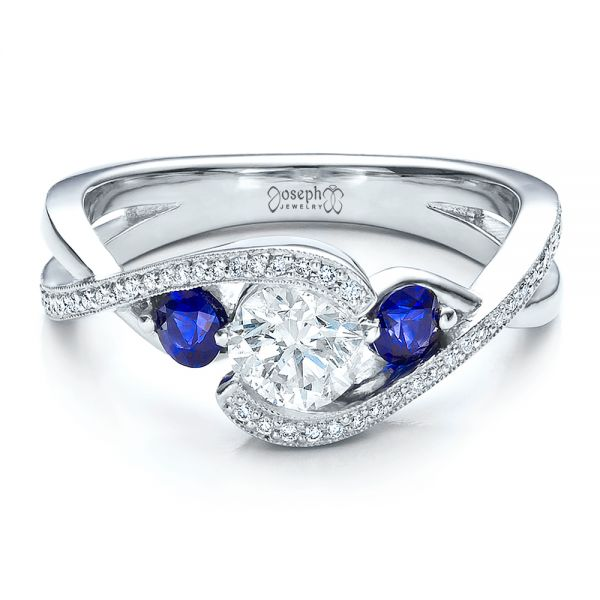 Platinum Custom Blue Sapphire And Diamond Engagement Ring - Flat View -  100056