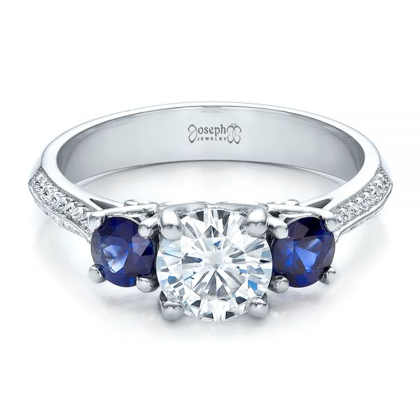 Custom Blue Sapphire and Diamond Engagement Ring - Flat View -  100116 - Thumbnail