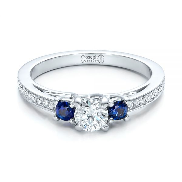 Custom Blue Sapphire and Diamond Engagement Ring - Flat View -  100876 - Thumbnail