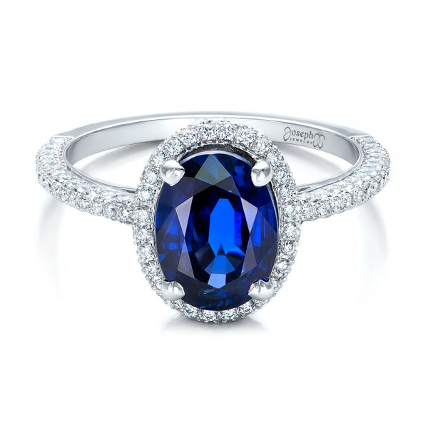 18k White Gold Custom Blue Sapphire And Diamond Engagement Ring - Flat View -