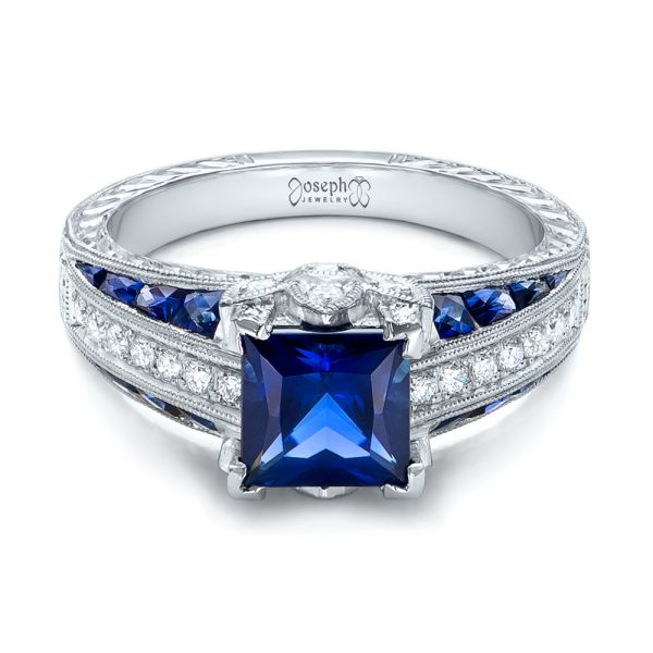 18K Custom Blue Sapphire and Diamond Engagement Ring - Flat View -  102163 - Thumbnail