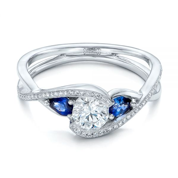 Custom Blue Sapphire and Diamond Engagement Ring - Flat View -  102251 - Thumbnail