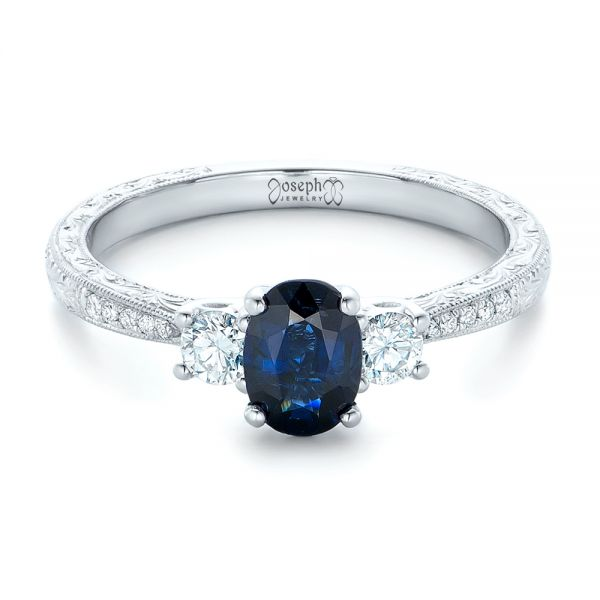 Custom Blue Sapphire and Diamond Engagement Ring - Flat View -  102274 - Thumbnail