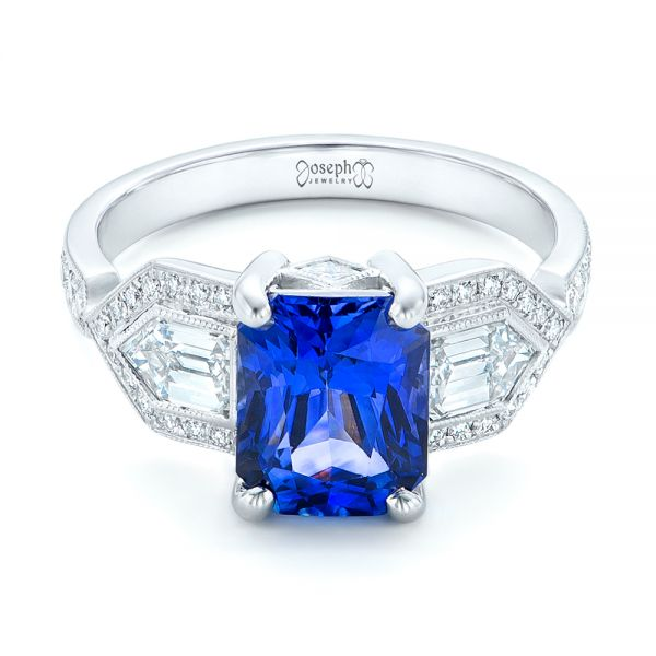 Custom Blue Sapphire and Diamond Engagement Ring - Flat View -  102783 - Thumbnail