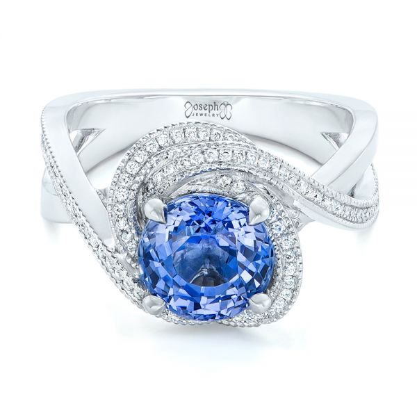 Platinum Custom Blue Sapphire And Diamond Engagement Ring - Flat View -