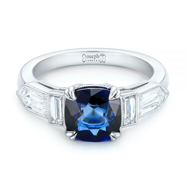 18k White Gold 18k White Gold Custom Blue Sapphire And Diamond Engagement Ring - Flat View -  102870