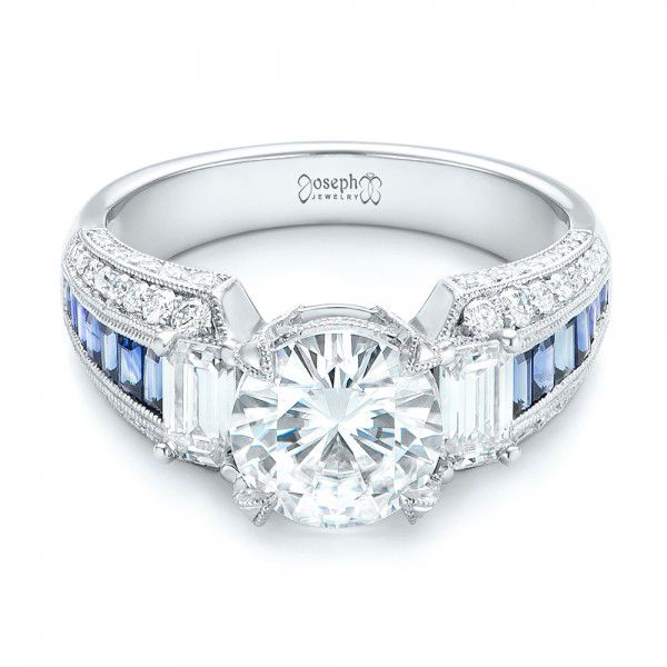 Platinum Platinum Custom Blue Sapphire And Diamond Engagement Ring - Flat View -