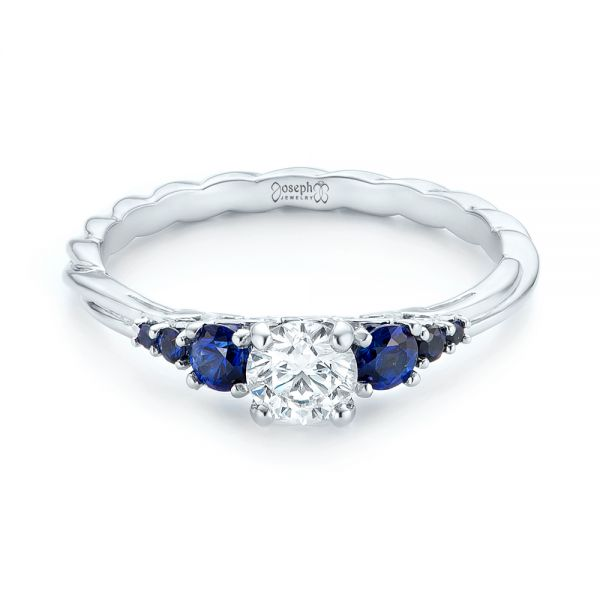 14k White Gold Custom Blue Sapphire And Diamond Engagement Ring - Flat View -