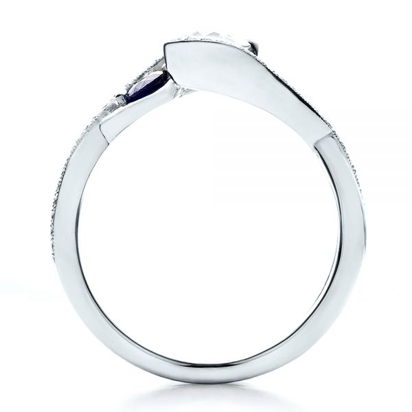 Platinum Custom Blue Sapphire And Diamond Engagement Ring - Front View -  100056