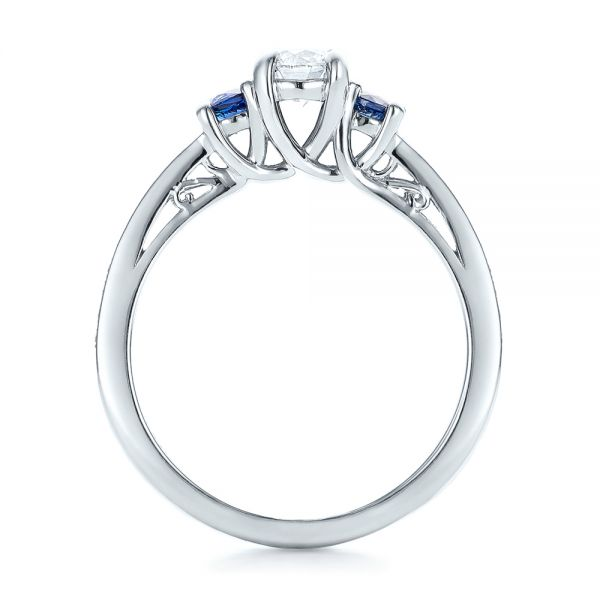 Custom Blue Sapphire and Diamond Engagement Ring - Front View -  100876 - Thumbnail