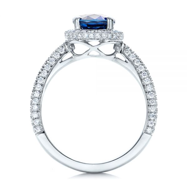 18k White Gold Custom Blue Sapphire And Diamond Engagement Ring - Front View -
