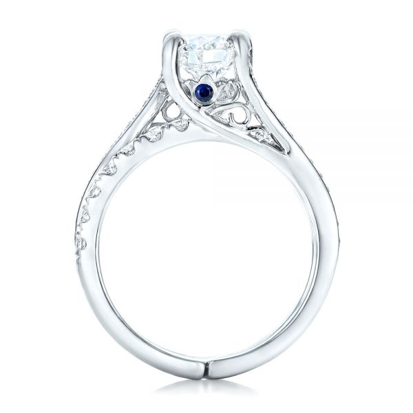 Custom Blue Sapphire and Diamond Engagement Ring - Front View -  102070 - Thumbnail