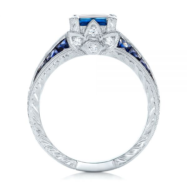 18K Custom Blue Sapphire and Diamond Engagement Ring - Front View -  102163 - Thumbnail