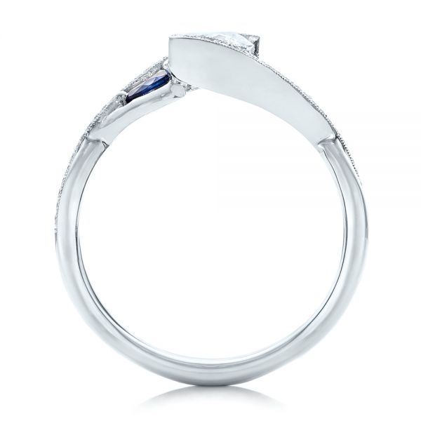 Custom Blue Sapphire and Diamond Engagement Ring - Front View -  102251 - Thumbnail