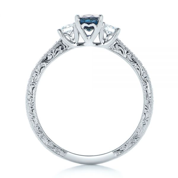 Custom Blue Sapphire and Diamond Engagement Ring - Front View -  102274 - Thumbnail