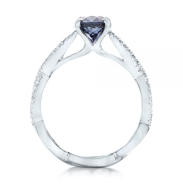 14k White Gold Custom Blue Sapphire And Diamond Engagement Ring - Front View -