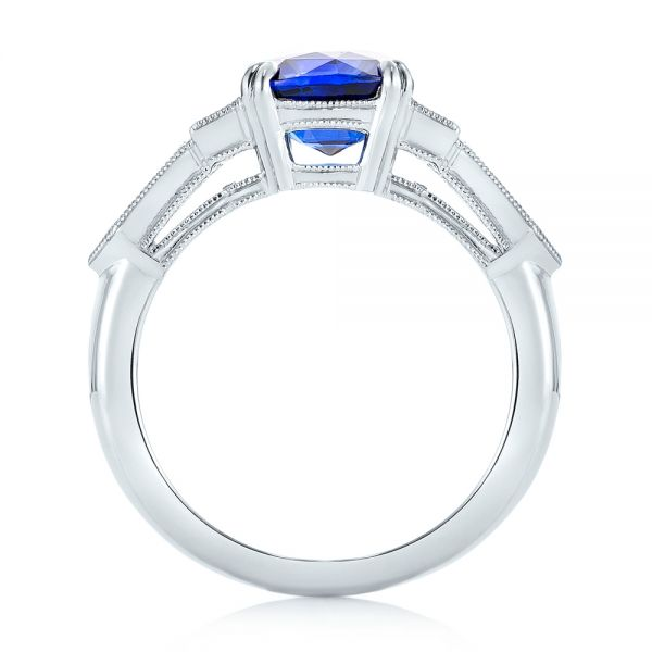 18k White Gold 18k White Gold Custom Blue Sapphire And Diamond Engagement Ring - Front View -  102870