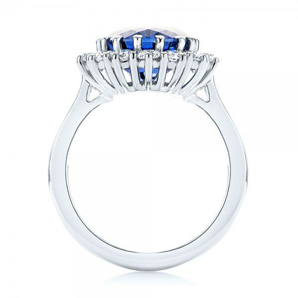 Custom Blue Sapphire and Diamond Engagement Ring - Front View -  103055 - Thumbnail