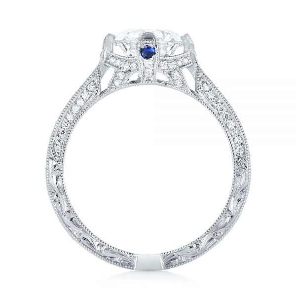 Platinum Custom Blue Sapphire And Diamond Engagement Ring - Front View -