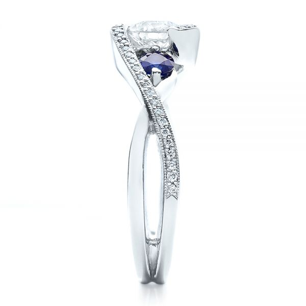 Platinum Custom Blue Sapphire And Diamond Engagement Ring - Side View -  100056