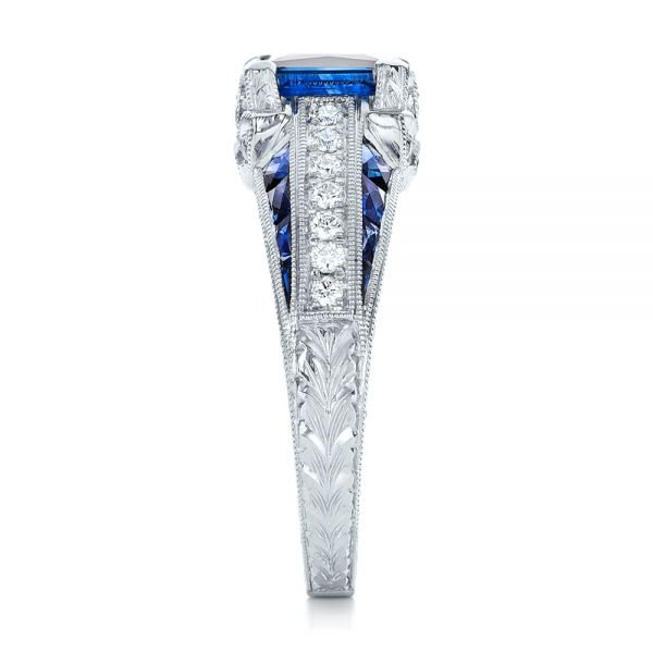 18K Custom Blue Sapphire and Diamond Engagement Ring - Side View -  102163 - Thumbnail