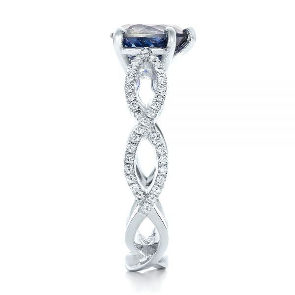 14k White Gold Custom Blue Sapphire And Diamond Engagement Ring - Side View -