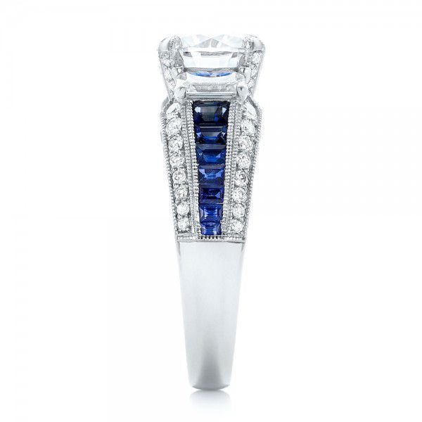 Platinum Platinum Custom Blue Sapphire And Diamond Engagement Ring - Side View -