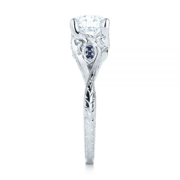 Platinum Custom Blue Sapphire And Diamond Engagement Ring - Side View -