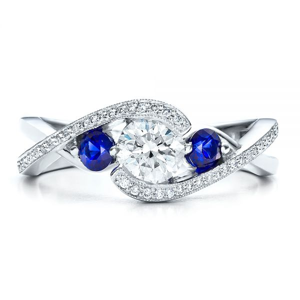 Platinum Custom Blue Sapphire And Diamond Engagement Ring - Top View -  100056