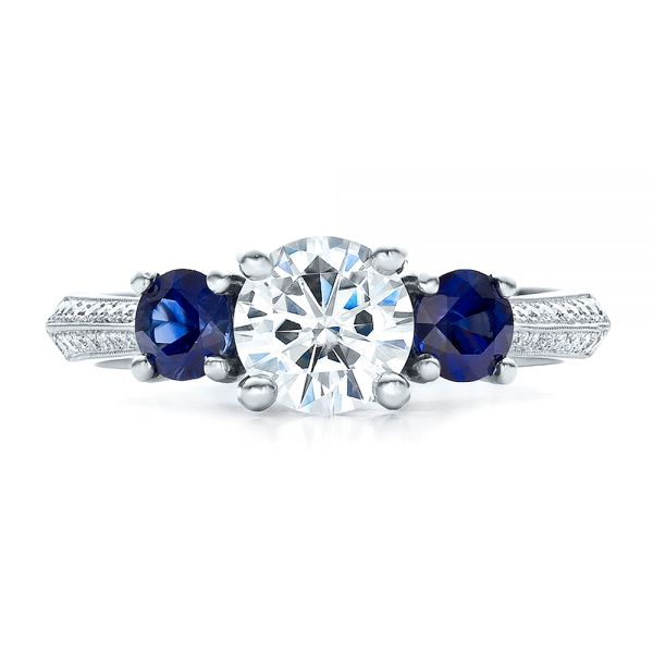 Custom Blue Sapphire and Diamond Engagement Ring - Top View -  100116 - Thumbnail