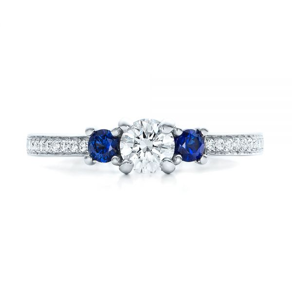 Custom Blue Sapphire and Diamond Engagement Ring - Top View -  100876 - Thumbnail