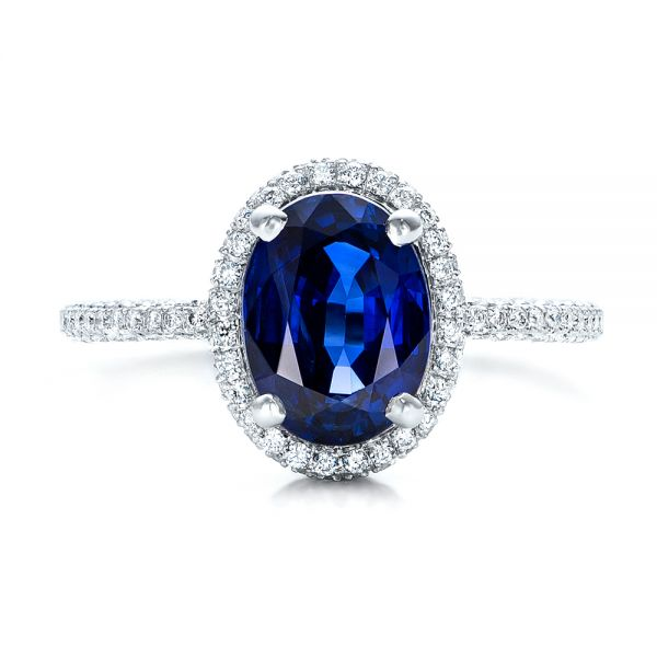 18k White Gold Custom Blue Sapphire And Diamond Engagement Ring - Top View -