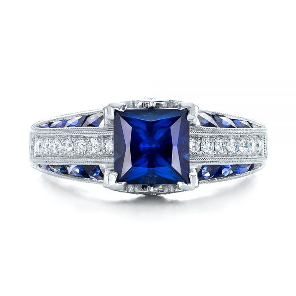 18K Custom Blue Sapphire and Diamond Engagement Ring - Top View -  102163 - Thumbnail