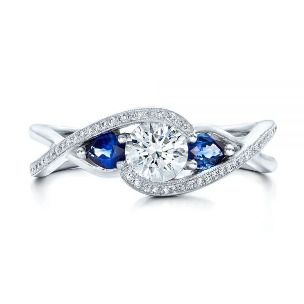 Custom Blue Sapphire and Diamond Engagement Ring - Top View -  102251 - Thumbnail