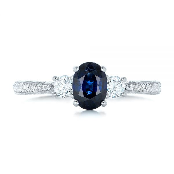 Custom Blue Sapphire and Diamond Engagement Ring - Top View -  102274 - Thumbnail