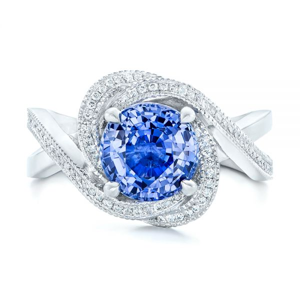 Platinum Custom Blue Sapphire And Diamond Engagement Ring - Top View -