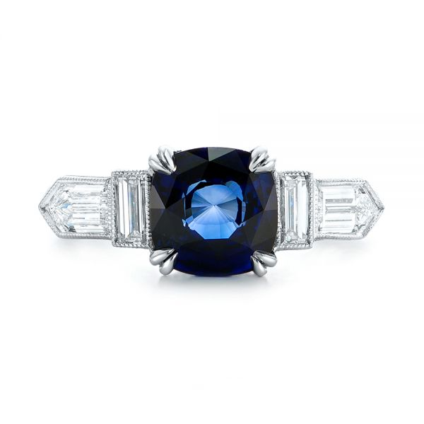 18k White Gold 18k White Gold Custom Blue Sapphire And Diamond Engagement Ring - Top View -  102870