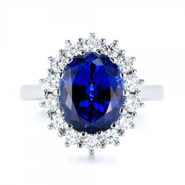 Custom Blue Sapphire and Diamond Engagement Ring - Top View -  103055 - Thumbnail