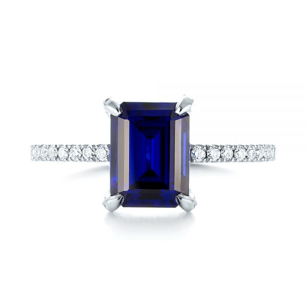 14k White Gold Custom Blue Sapphire And Diamond Engagement Ring - Top View -